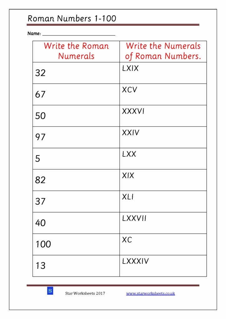 Roman Numerals Worksheet Pdf Unique Roman Numerals 1 100 Star Worksheets