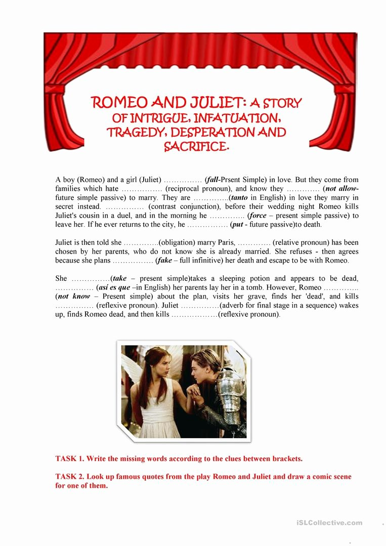 Romeo and Juliet Worksheet Beautiful Romeo and Juliet Worksheet Free Esl Printable Worksheets