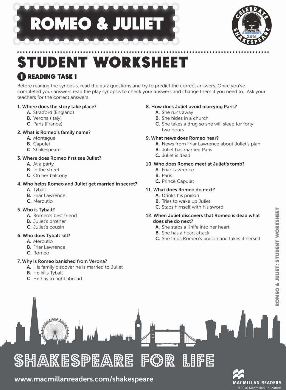 Romeo and Juliet Worksheet Best Of Romeo & Juliet Student Worksheet 1 Reading Task 1