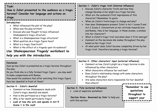Romeo and Juliet Worksheet Elegant Romeo & Juliet Printable Essay Plan Worksheet by Maz1