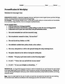 Romeo and Juliet Worksheet Fresh Romeo & Juliet Personification and Wordplay Worksheet