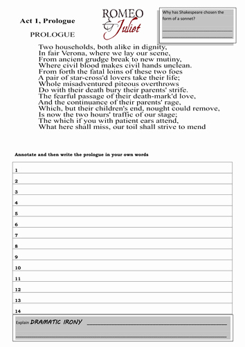 Romeo and Juliet Worksheet Lovely Romeo and Juliet the Prologue Worksheet Activities by
