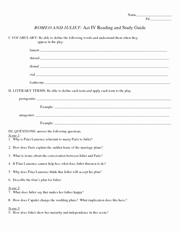 Romeo and Juliet Worksheet Lovely Romeo and Juliet Worksheets