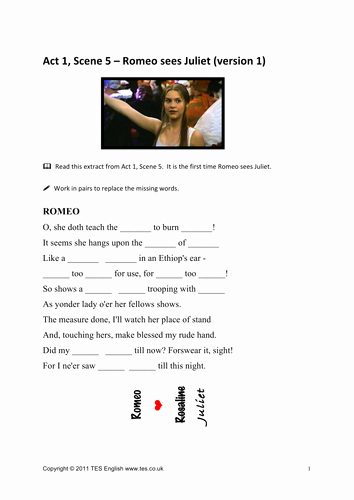 Romeo and Juliet Worksheet Luxury Romeo and Juliet Worksheets for Act 1 Scene 5 by