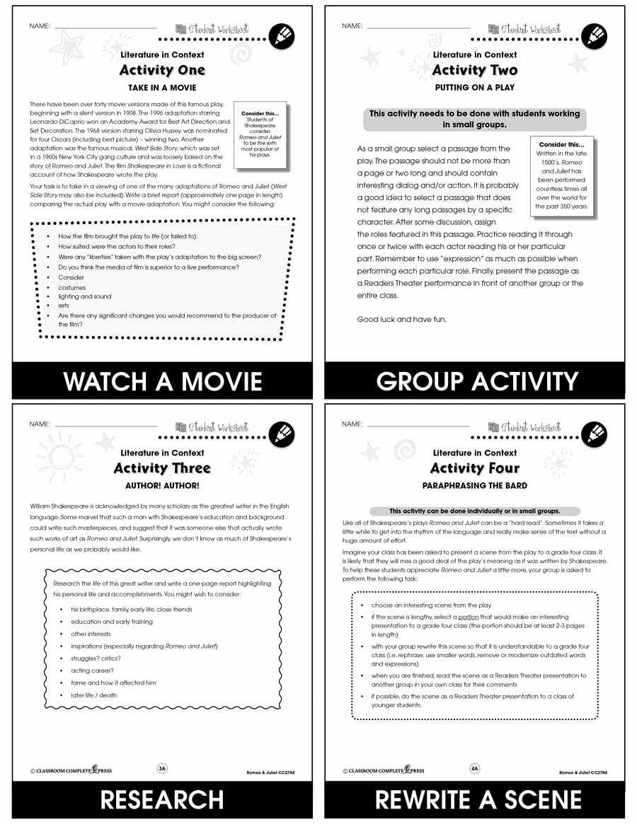Romeo and Juliet Worksheet New Romeo & Juliet Bonus Worksheets Grades 7 to 8 Ebook