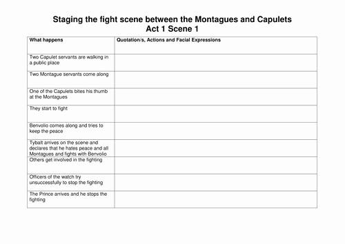 Romeo and Juliet Worksheet Unique Romeo & Juliet Students Direct the Fight Scene by Bexy85