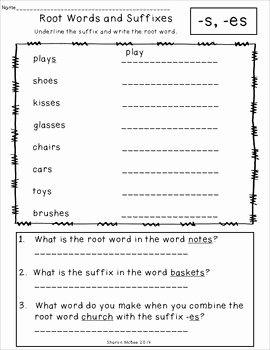 "Root Words Worksheet Pdf Awesome Root Words and Suffixes ""just Print"" Printable"