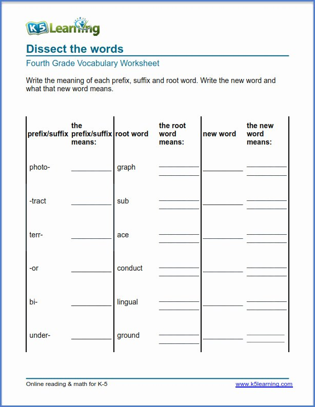 Root Words Worksheet Pdf Unique Grade 4 Vocabulary Worksheets Identify Prefixes and