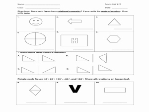 Rotations Worksheet 8th Grade Awesome Hw 27 Symmetry Rotation Reflection Worksheet for 7th