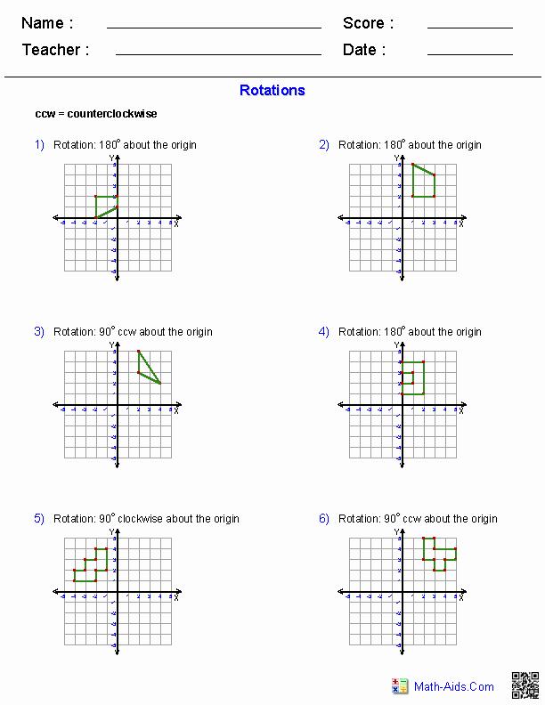 Rotations Worksheet 8th Grade Lovely Geometry Worksheets