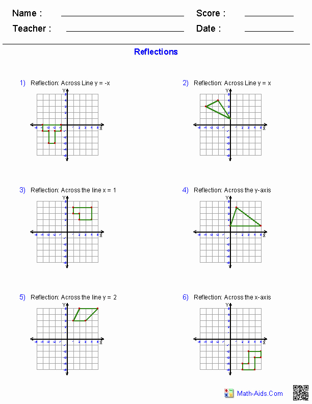 Rotations Worksheet 8th Grade Lovely Reflections Worksheets Transformations