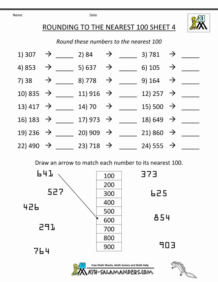 Rounding Decimals Worksheet 5th Grade Best Of Rounding to the Nearest 100 4 1 000×1 294 Pixels