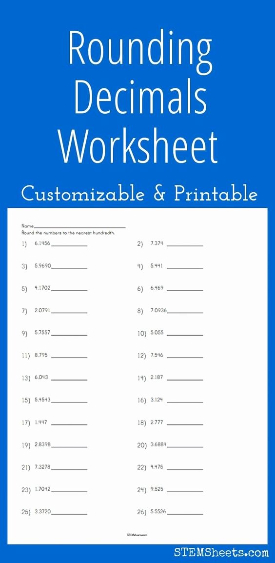 Rounding Decimals Worksheet 5th Grade Fresh Customizable and Printable Rounding Decimals Worksheet