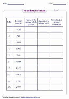 Rounding Decimals Worksheet 5th Grade Fresh Expanded Notation Using Decimals Place Value Worksheets