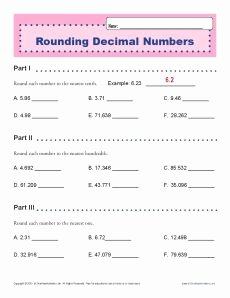 Rounding Decimals Worksheet 5th Grade Fresh Rounding Decimal Numbers