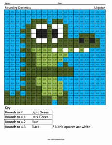 Rounding Decimals Worksheet 5th Grade New Rounding Decimals Alligator Coloring Squared