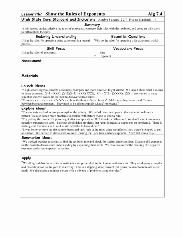 Rules Of Exponents Worksheet Pdf Awesome Exponential Bliss Collection