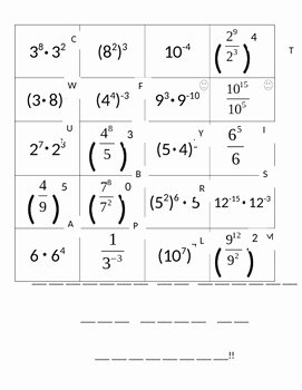 Rules Of Exponents Worksheet Pdf Awesome Laws Of Exponents Worksheet by Julie Craft