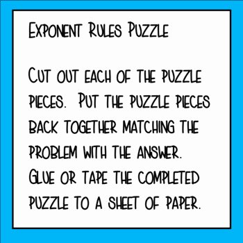 Rules Of Exponents Worksheet Pdf Beautiful Exponent Rules Puzzle by Teacher Twins
