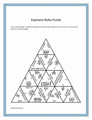 Rules Of Exponents Worksheet Pdf Best Of Exponent Rules Puzzle Math