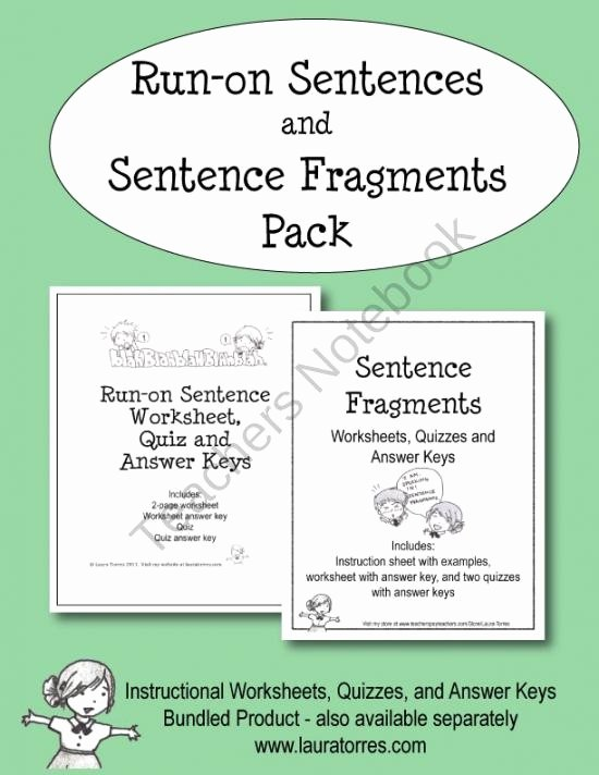 Run On Sentence Worksheet Beautiful Run On Sentences and Sentence Fragment Pack Product From