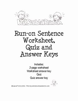 Run On Sentence Worksheet Elegant Run On Sentence Worksheets Quiz and Answer Keys