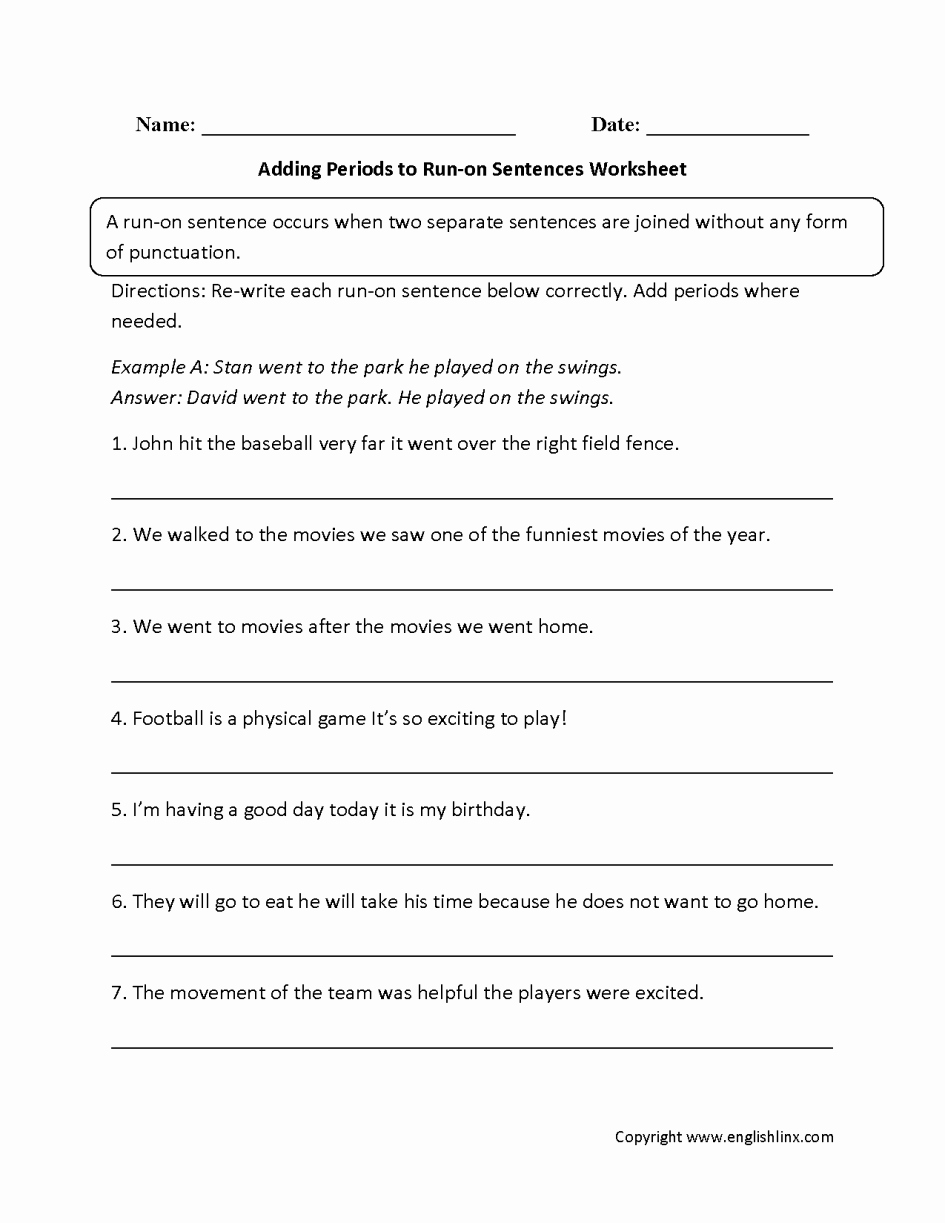 Run On Sentence Worksheet Inspirational Grade 9 Locally Developed English Mr Read S Courses