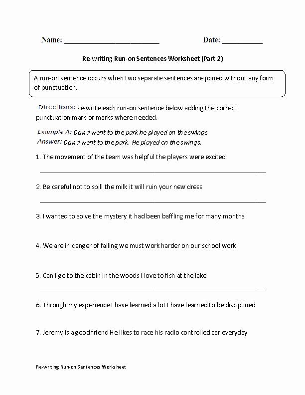 Run On Sentence Worksheet Lovely Re Writing Run On Sentences Worksheet Part 2