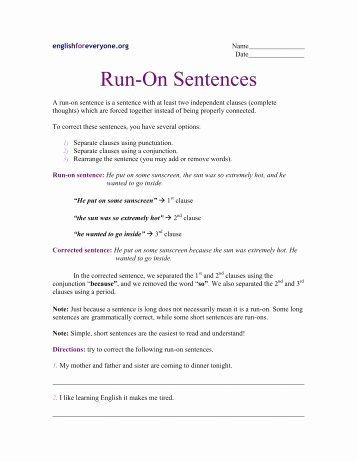 Run On Sentence Worksheet Lovely Run Sentence and Fragments