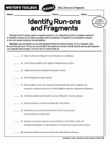 Run On Sentence Worksheet Lovely Run Sentences Worksheet