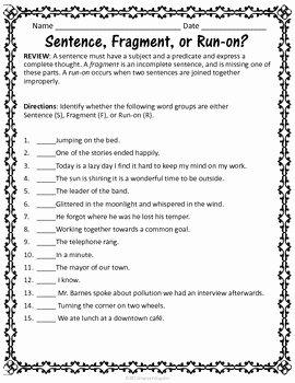 Run On Sentence Worksheet Lovely Sentences Grammar Worksheets On Fragments Run Ons and