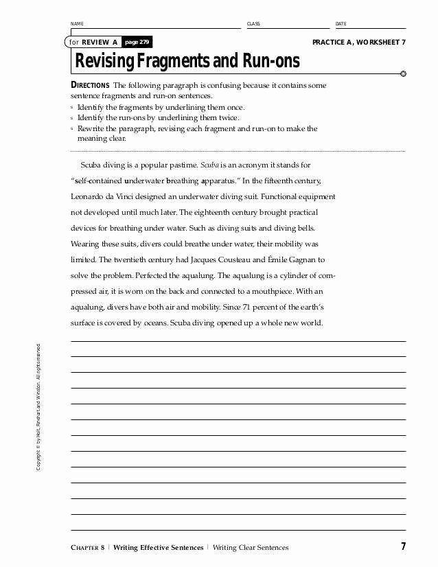 Run On Sentence Worksheet Pdf Awesome Run Sentences Worksheet