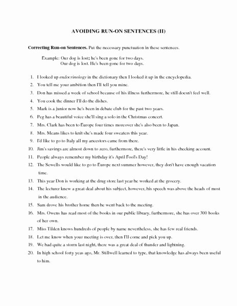 Run On Sentence Worksheet Pdf Elegant Avoiding Run Sentences Ii Worksheet for 6th 9th