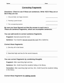 Run On Sentence Worksheet Pdf Elegant Sentence Fragment Mini Lesson by Mrs Bart