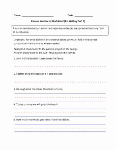 Run On Sentence Worksheet Pdf Fresh 1000 Ideas About Run Sentences On Pinterest