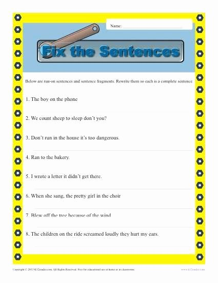 Run On Sentence Worksheet Pdf Lovely Run On and Fragments
