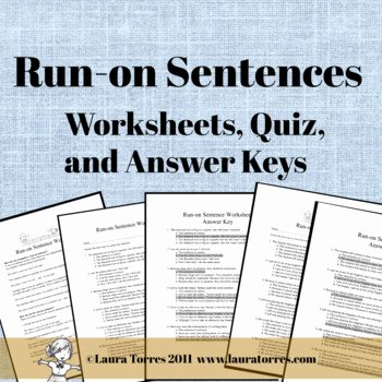 Run On Sentence Worksheet Pdf Luxury Run On Sentence Worksheets Quiz and Answer Keys by Laura
