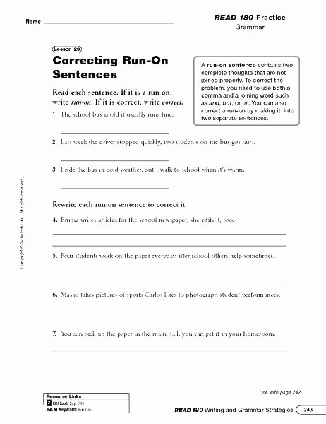Run On Sentence Worksheet Pdf Unique Plete Sentence Worksheets – Devopstraining