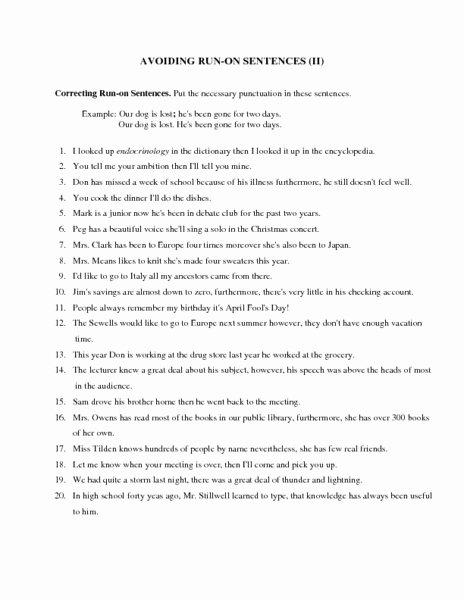 Run On Sentence Worksheet Unique Avoiding Run Sentences Ii Worksheet for 6th 9th