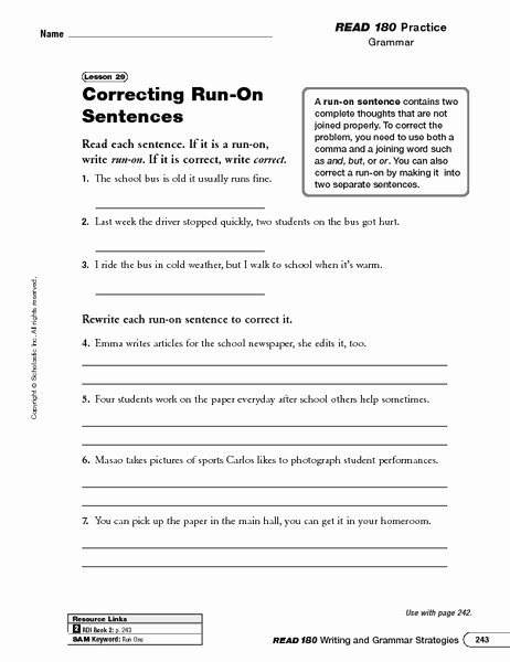Run On Sentences Worksheet Awesome Correcting Run Sentences Worksheet for 5th 8th Grade