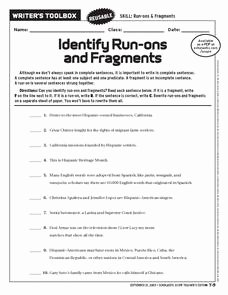 Run On Sentences Worksheet Best Of Identify Run Ons and Fragments 6th 9th Grade Worksheet