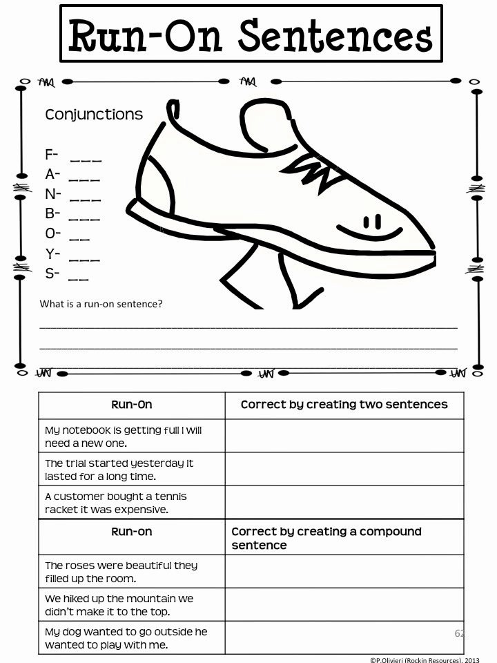 Run On Sentences Worksheet Best Of Rockin Resources Writing Mini Lesson 4 Run Sentences