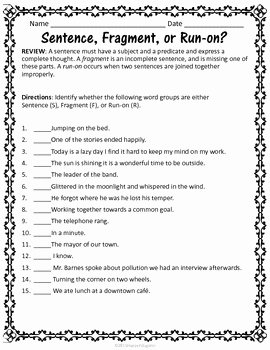 Run On Sentences Worksheet Elegant Sentences Grammar Worksheets On Fragments Run Ons and