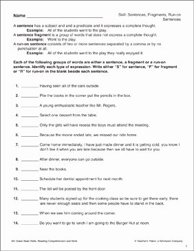 Run On Sentences Worksheet Fresh Sentences Fragments Run On Sentences 6th Grade Reading