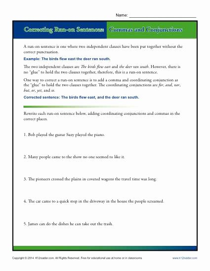 Run On Sentences Worksheet Inspirational Correcting Run On Sentences Mas and Conjunctions
