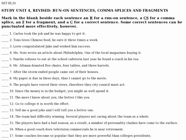 Run On Sentences Worksheet Luxury Study Unit 4 Revised Run Sentences Ma Splices and