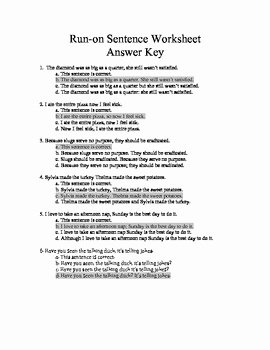 Run On Sentences Worksheet New Run On Sentence Worksheets Quiz and Answer Keys by Laura