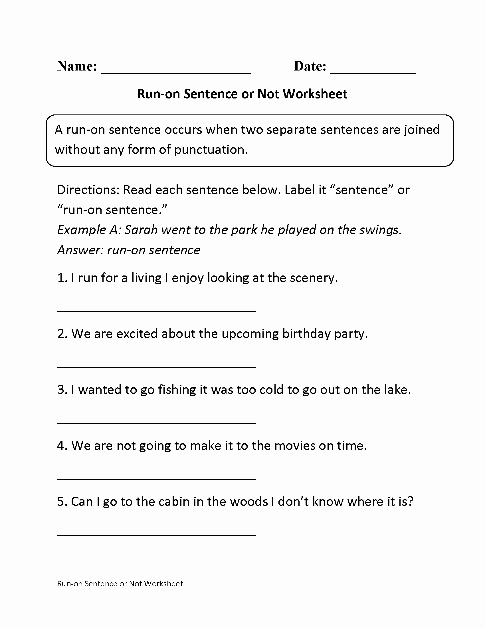 Run On Sentences Worksheet New Run On Sentences or Not Worksheet … Speech therapy