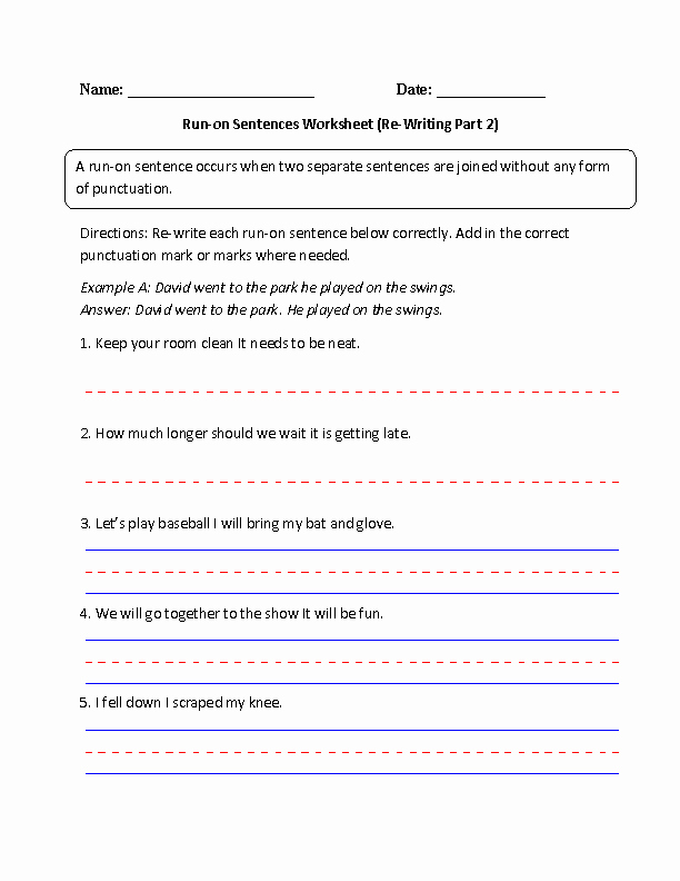 Run On Sentences Worksheet New Sentences Worksheets