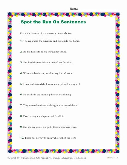 Run On Sentences Worksheet Unique which Of the Following is A Run On Sentence